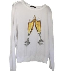 Wildfox Champagne Glasses Cheers Sweater Top
